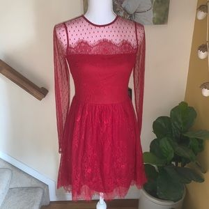 Express red lace semi sheer party cocktail dress 4